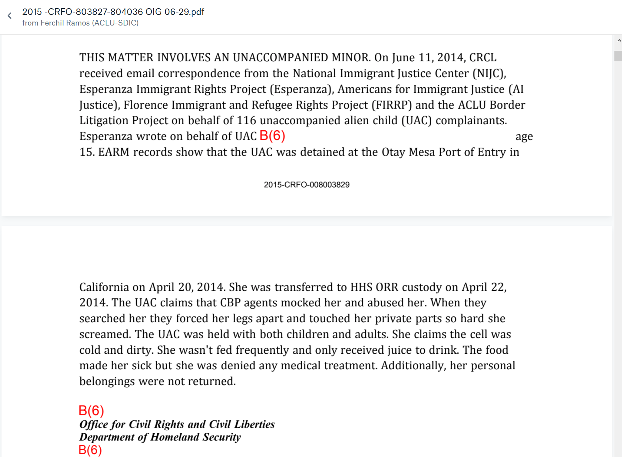 Excerpts of ACLU Investigation