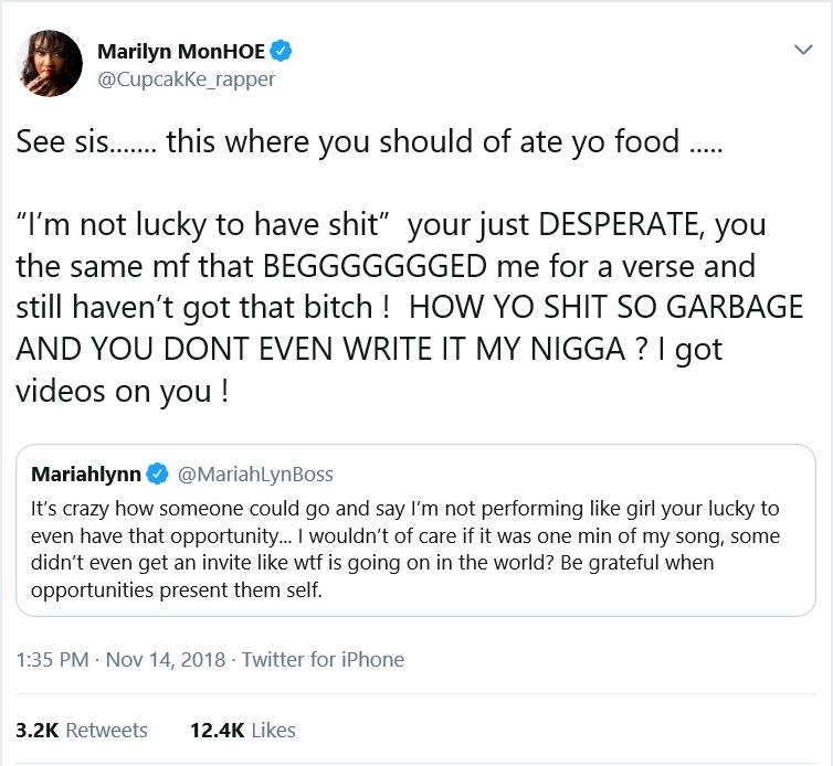 Cupcakke reads Mariah Lynn down